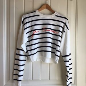 Topshop Je T'aime Striped blouse